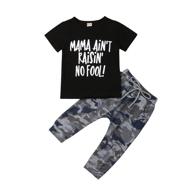 Boy Set Toddler Kids Clothes Tops +Camouflage Pants Tracksuit Outfit Summer