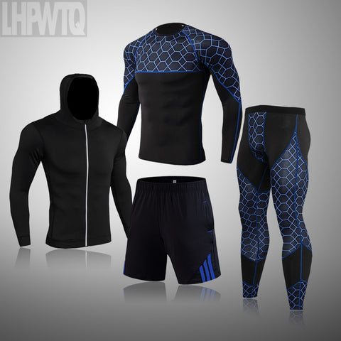 Running 1-4Pcs/Set for Men Gym Clothing Fitness Compression Men's Sport Suits Quick Dry Training Sportswear Sets Breathable Tights