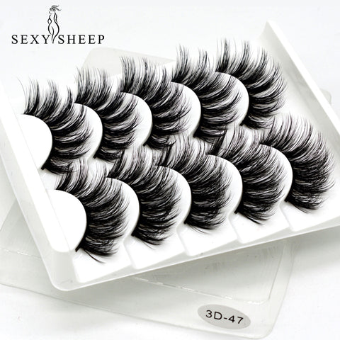 SEXYSHEEP 5Pairs 3D Mink Hair False Eyelashes Natural/Thick Long