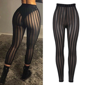 Sexy Ladies Women Mesh Sheer See Through Striped Leggings Pants High Waist Bodycon Black Slim