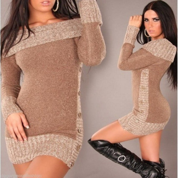 Sexy Women Long Pullover Knitted Sweater