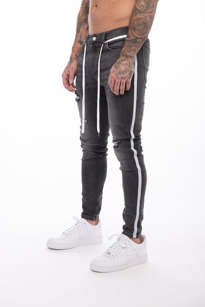 Men Slim Fit Side Stripe Skinny Jeans