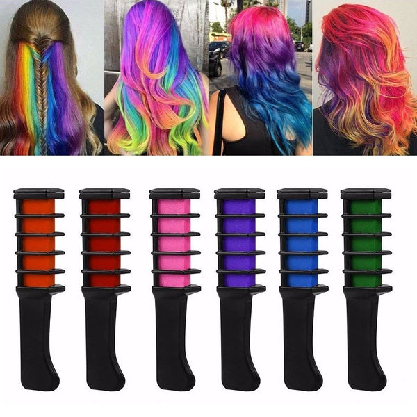 Temporary Hair Pro Mini Chalks Crayons 6 Colors Hair Dye Comb