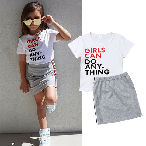 Toddler Girls Short Sleeve Letter Print Top & Mini Skirt Outfit