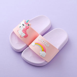 Unicorn Kids Slippers For Boys/Girls Cartoon Rainbow Shoes