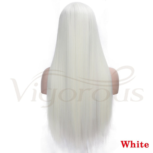 Vigorous Red Lace Front Wigs Synthetic Long Straight Wigs Middle Parting Heat Resistant Fiber Natural Looking