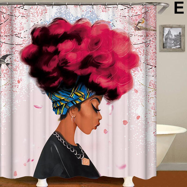 African Girl Printed Durable Bathroom Curtain
