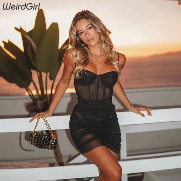 WeirdGirl Sexy Sleeveless strapless Bodycon Dress