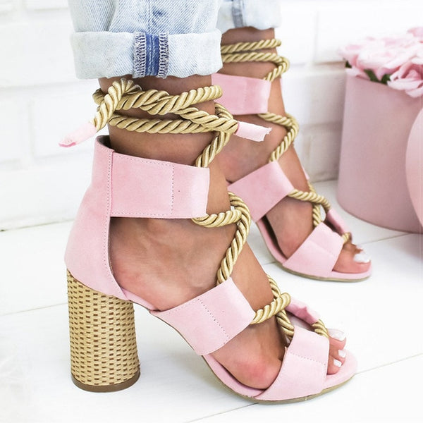 Women Pump Lace Up Heels Sandals Thick Heel
