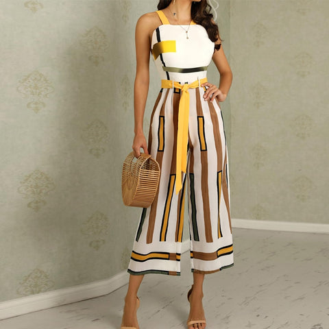 Sleeveless Contrast Striped Wide Leg Jumpsuit