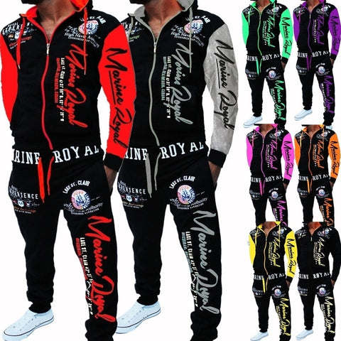 Men Tracksuit 2 Piece Tops and Pants Sweat Suits Set Letter Print Plus Size Jogger Sets for Men Clothing