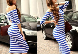 Sleeves off shoulders strip dress