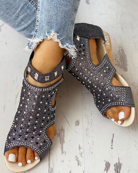 Ladies Wedge Sandals Crystal Bling Footwear
