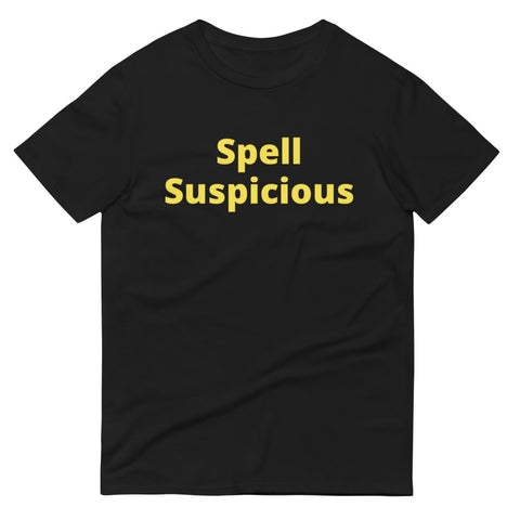 Short-Sleeve T-Shirt Spell Suspicious printed on the front and back