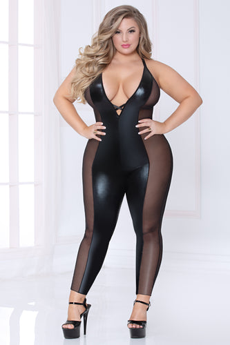 black Plus Size Lace and Mesh Jumpsuit by Seven til Midnight | Divva's Place