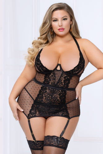 black Plus Size Lace and Mesh Chemise by seven til midnight