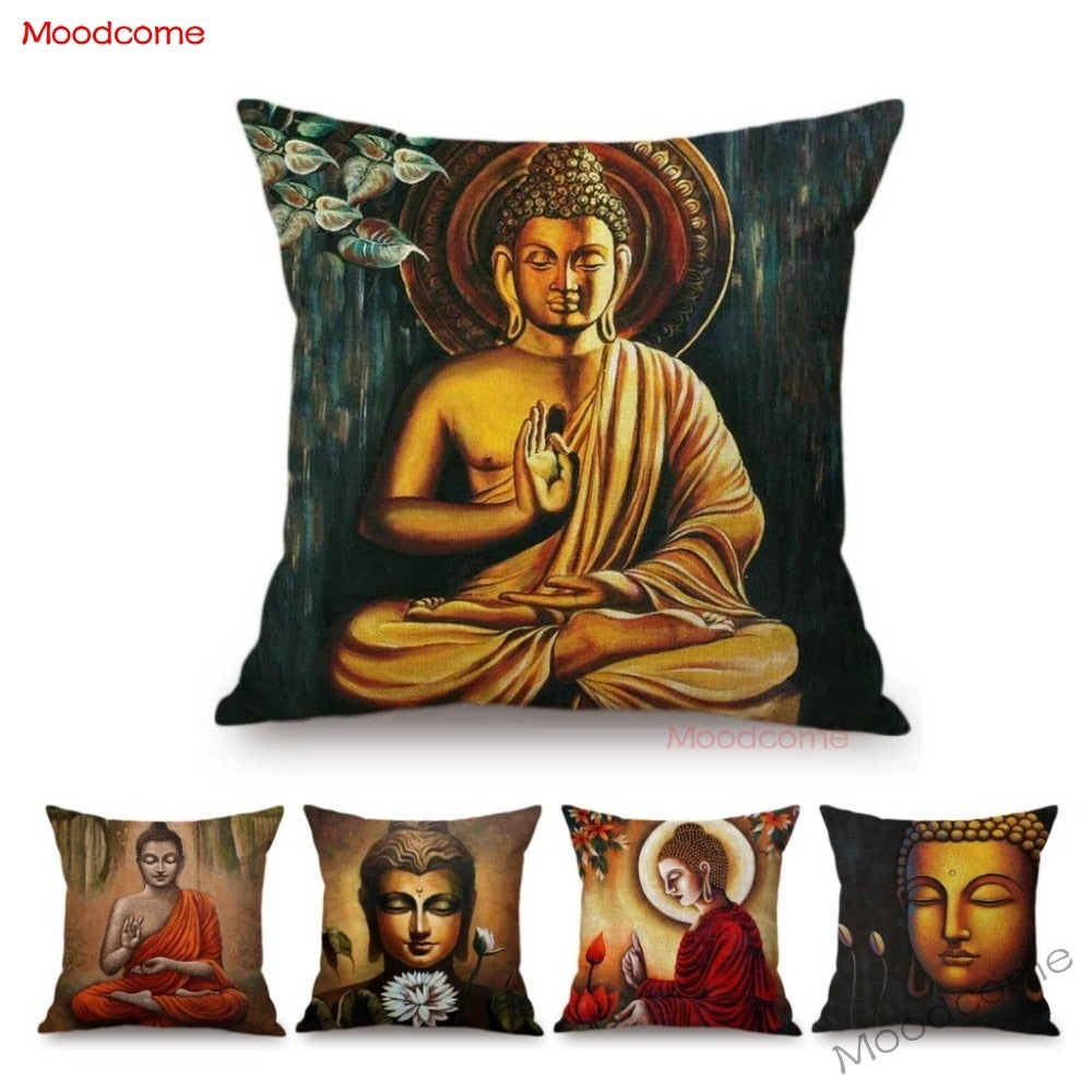 Gautama Buddha Sakymuni Oil Painting Buddism Home Decoration Art Throw Pillow Case Southeast Asia Style Car Pillow Cushion Cover