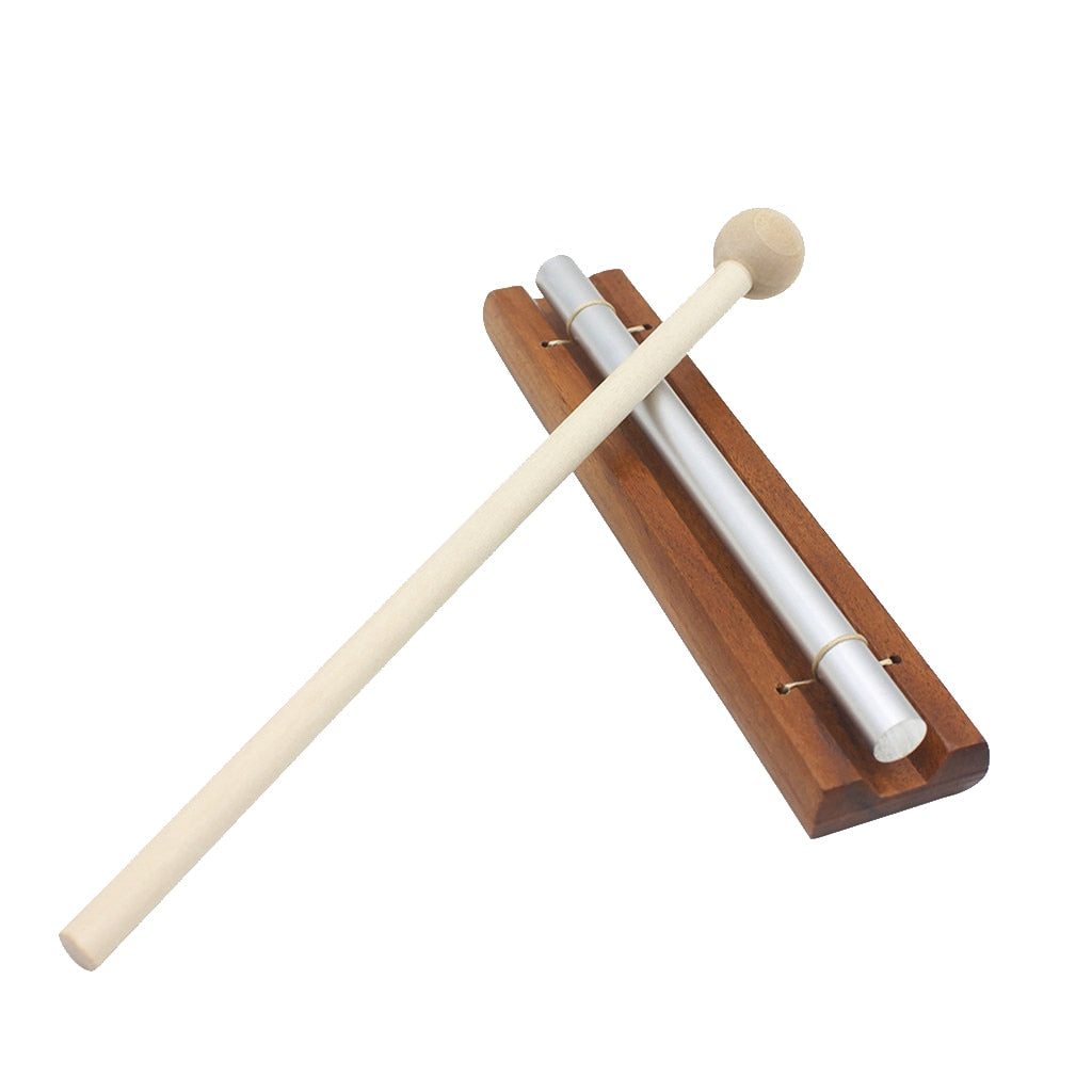 Solo Chime on Wooden Base w/ Mallet Single Rod for Yoga Meditation Energy
