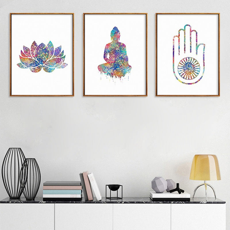 Abstract Watercolor Buddha Statue Colorful Lotus Canvas Painting Zen Painting Modern Home Living Room Decoration Wall Art