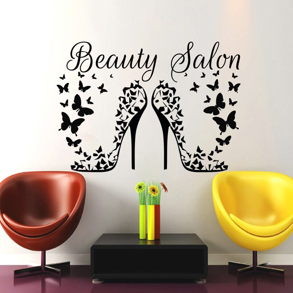 Hair Wall Decal Beauty Salon Stickers Decals Hair Girl Woman Room Decor Butterfies Vinyl Sticker Make Up Cosmetic Wallpaper Z933
