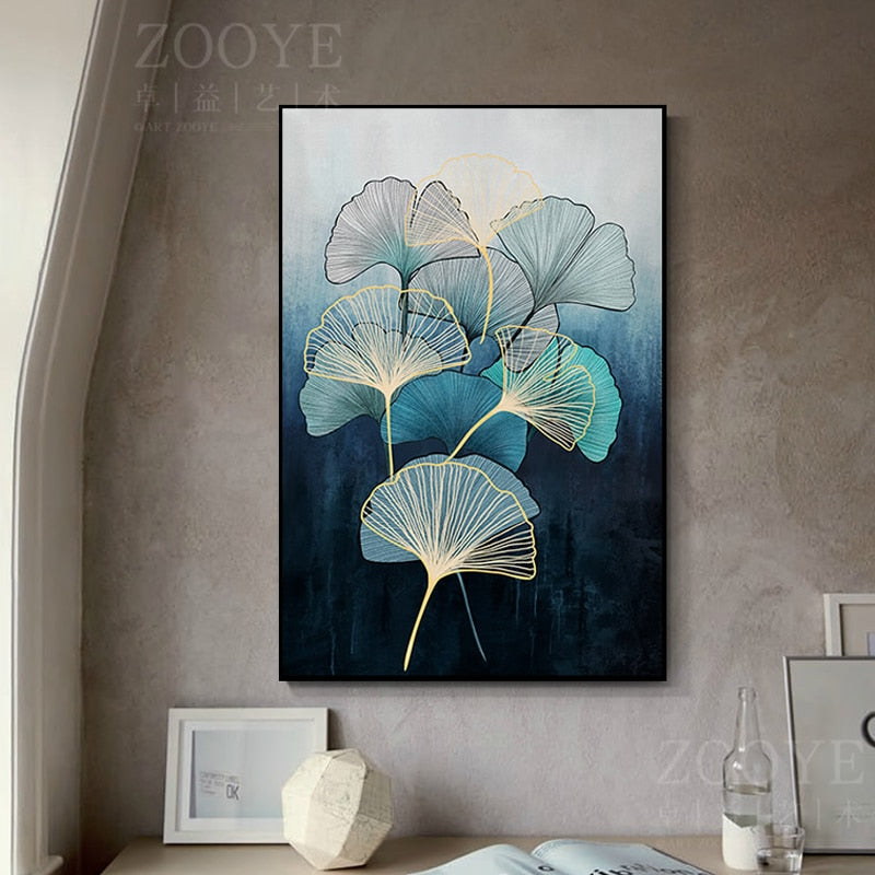 Abstract Zen Leaves Soft Feathers Canvas Painting Warming Color Poster and Print For Living Room Bedroom Aisle HD Wall Art Decor
