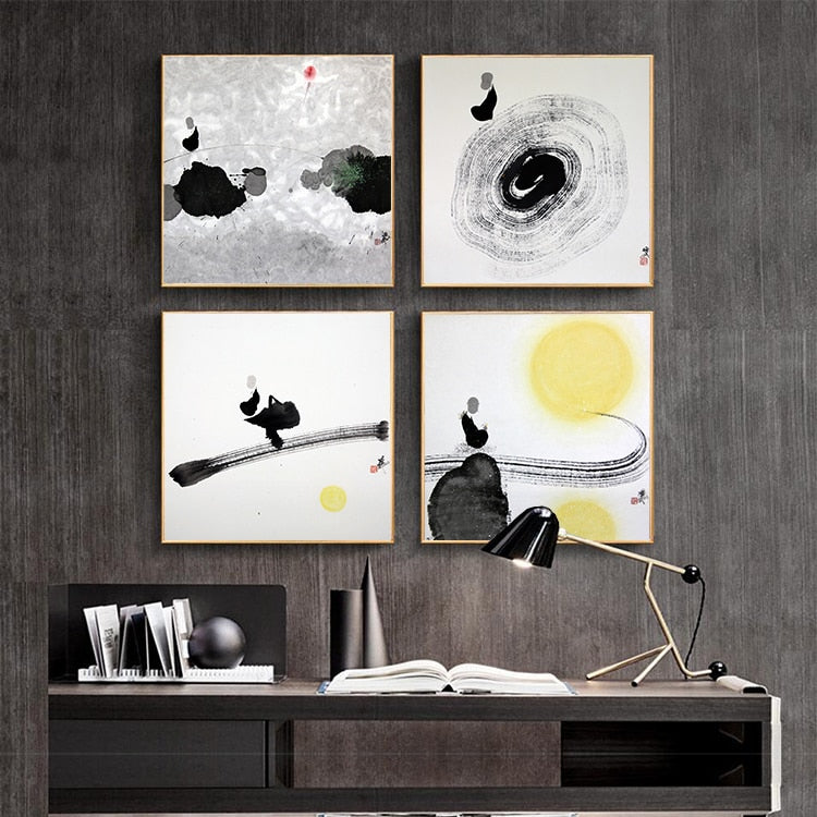 Chinese Style Zen Ink Painting Landscape Canvas Art Painting Art Wall Pictures For Living Room Black White HD Posters And Prints