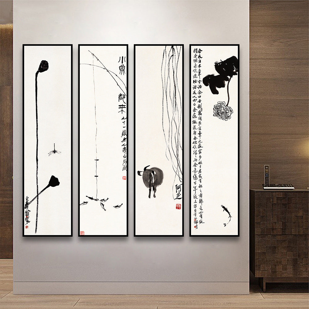 Chinese QiBaishi's Zen Modern Pictures Oil Painting China art watercolor print Canvas Wall Poster for Living Room Home Decor