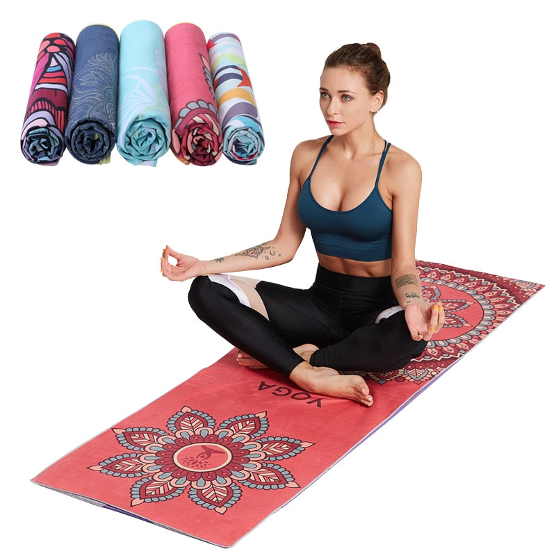 Microfiber Hot Yoga Mat Blankets 185*63cm Printed Pilates Fitness Gym Exercise Mat Cover Portable Travel Workout Meditation Pad