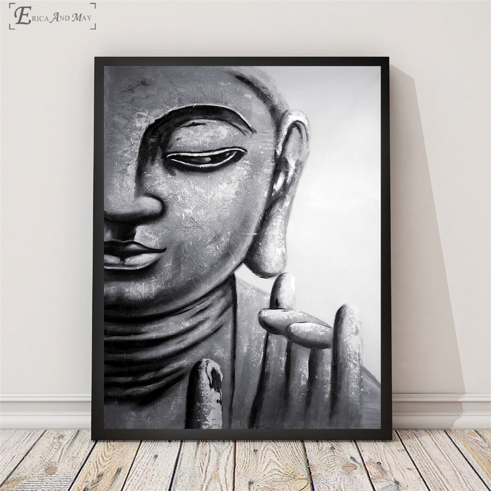 Black And White Buddha Zen Canvas Printed Painting Wall Pictures Home Decor Posters And Prints Art For Living Room