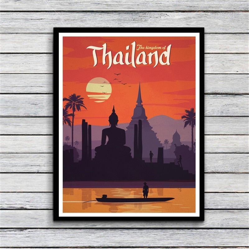 VINTAGE THAILAND Canvas Art Painting Print Wall Poster For Living Room Decoration No Frame