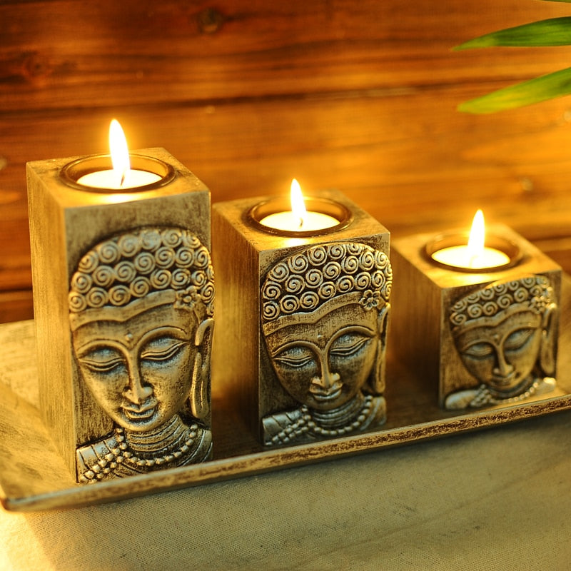 Thailand Buddha, Buddha Zen, wooden Candle holder, Candlestick, creative Home Furnishing decoration, handicrafts~