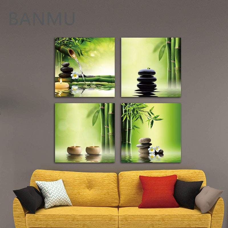 Pictures on Canvas Wall Painting Art for Home Modern 4 Panel Zen Giclee Canvas Prints Perfect Bamboo Green Office Decorations