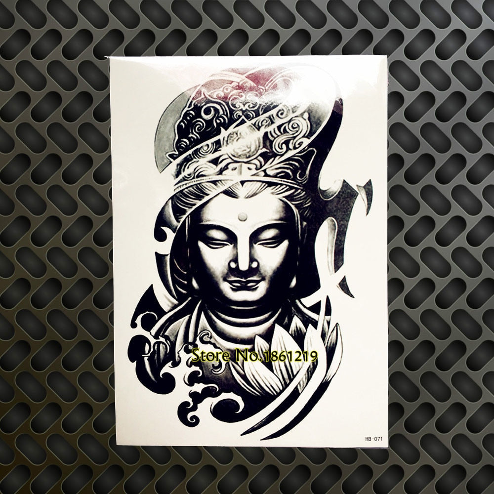 Thailand Buddhist Designs Waterproof Temporary Tattoo Fake Body Art Arm Henna Tattoo Sleeves Buddhism Black Buddha Summer Style