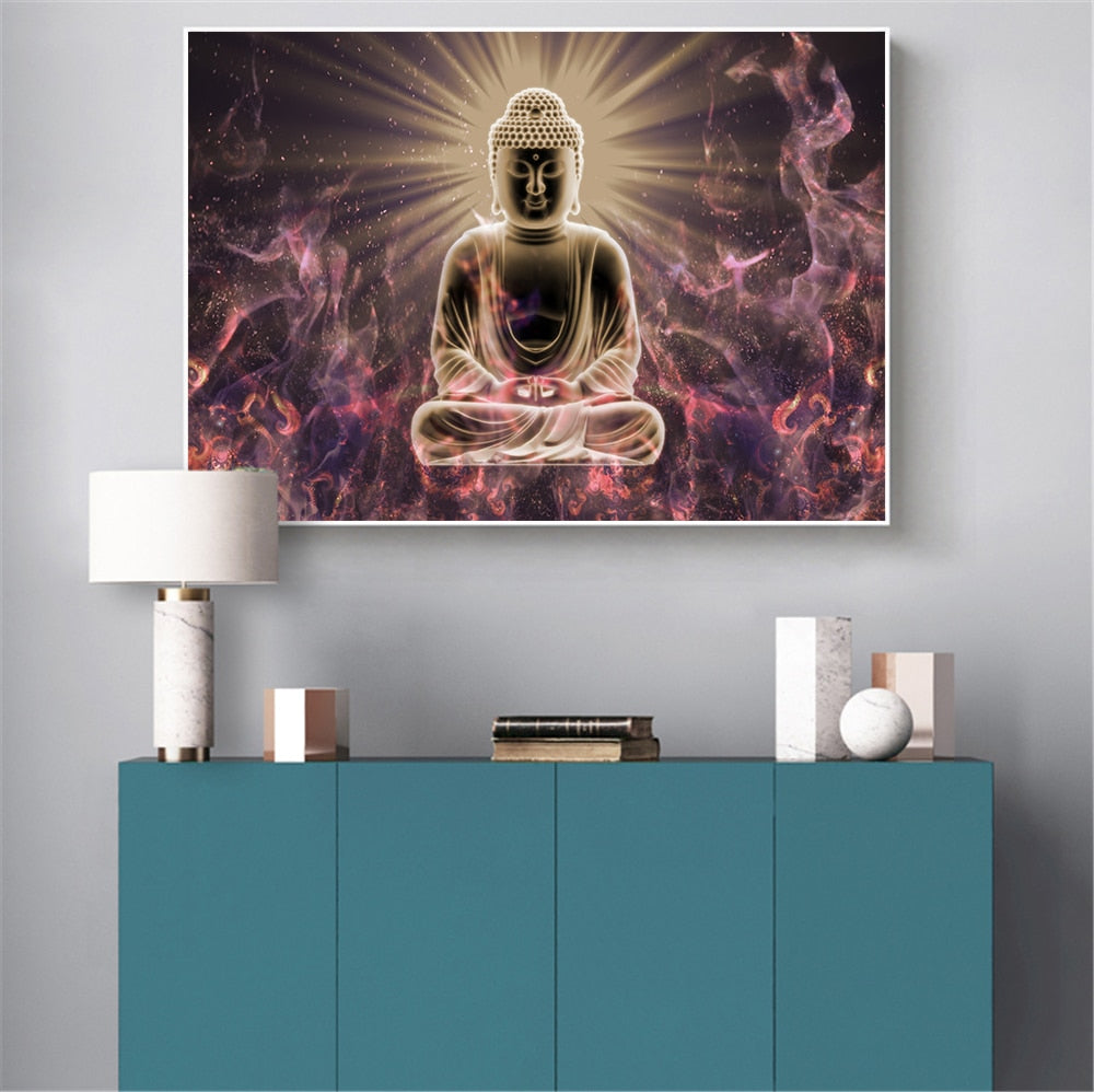 Wall Art Print Buddha Posters Canvas Abstract oil Painting Wall Pictures for Living Room Religious Home Decoration Zen