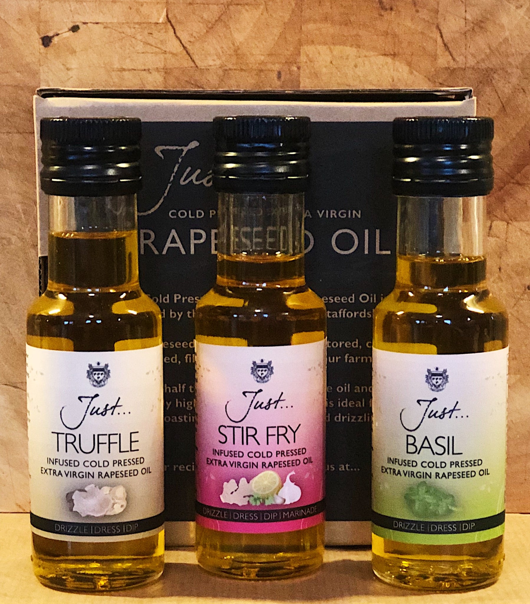 JustOil Cold Pressed Rapeseed Infused Oil Gift Pack