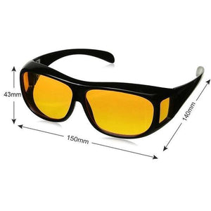 UV400 Night Vision Goggles Fit Over Prescription Glasses Wrap Arounds Sunglasses Driving Protection