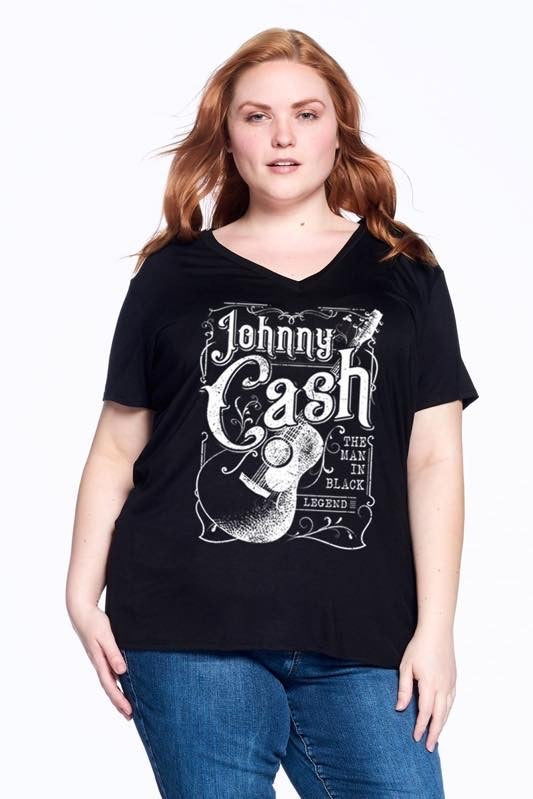 Johnny Cash V Neck (Plus Size)