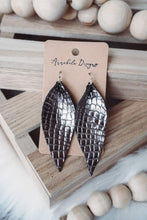 Load image into Gallery viewer, Leather Leaf Snakeskin Earrings - Sublime Clothing Boutique