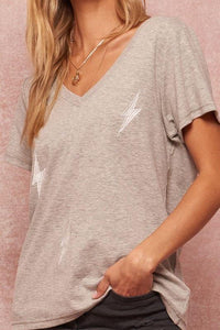 Lightening Bolt Embroidered Tee