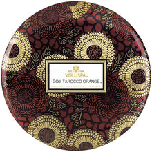 Load image into Gallery viewer, Voluspa Goji Tarocco Orange 3 Wick Tin - Sublime Clothing Boutique