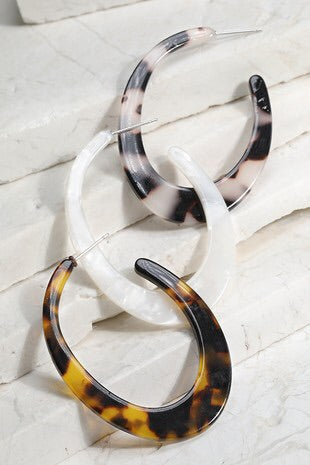 Tortoise Open Oval Hoop Earring - Sublime Clothing Boutique