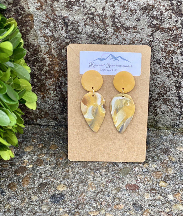 Golden Marble Teardrop Clay Earring