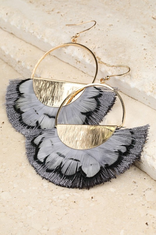 Semicircle Feather Earrings - Sublime Clothing Boutique