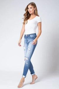 Freddie Mid Rise Distressed Denim