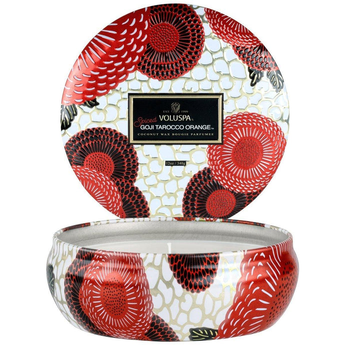 Voluspa Spiced Goji Tarocco Orange 3 Wick Tin Candle - Sublime Clothing Boutique