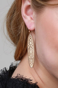 Two Tone Tile Oval Hook Earring - Sublime Clothing Boutique