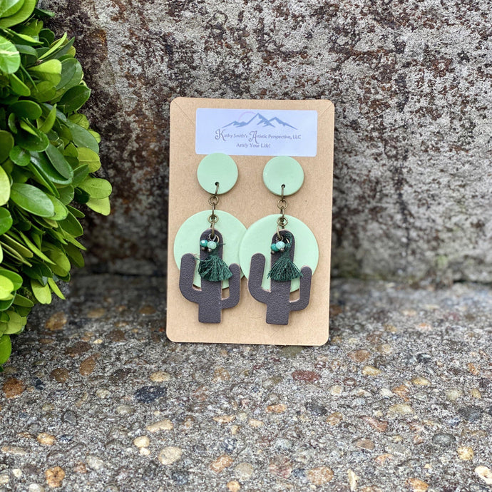Cool Tone Cactus Clay Earring