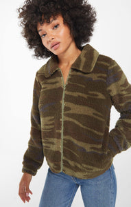 Camo Crop Sherpa Jacket - Sublime Clothing Boutique