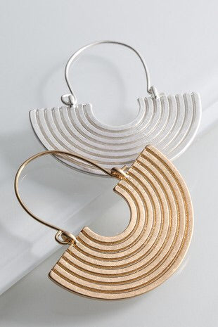 Semi Circle Ribbed Earrings
