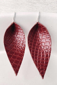 Leather Leaf Snakeskin Earrings - Sublime Clothing Boutique